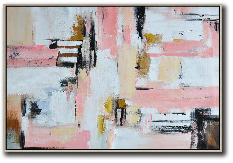 Modern Wall Decor,Oversized Horizontal Contemporary Art,Abstract Artwork Online White,Pink,Light Yellow,Black,Brown